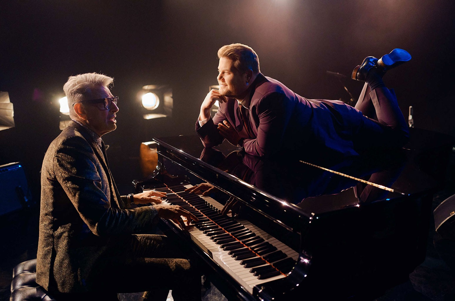 Jeff Goldblum performs in a sketch with James Corden during The Late Late Show with James Corden on Dec. 3, 2018.