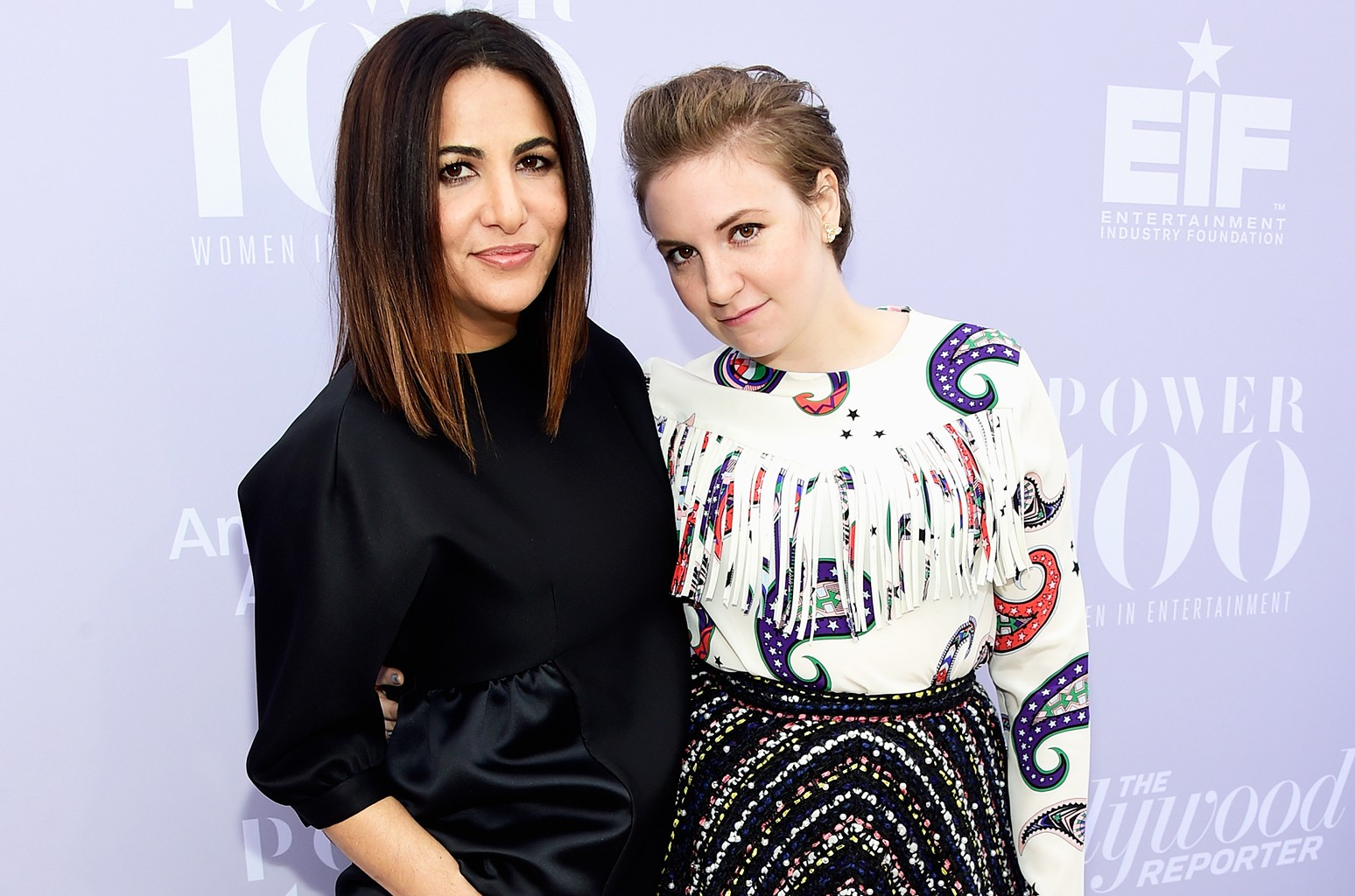 Jennifer Konner and Lena Dunham attend the 24th annual Women in Entertainment Breakfast hosted by The Hollywood Reporter at Milk Studios on Dec. 9, 2015 in Los Angeles.