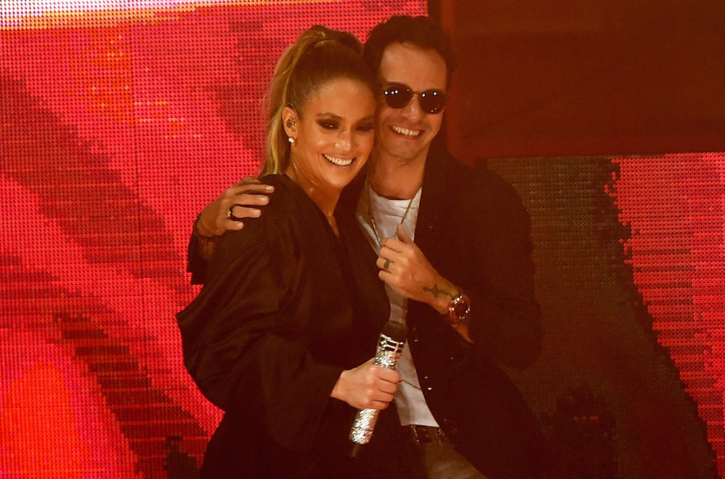 Jennifer Lopez and  Marc Anthony are seen at the Jennifer Lopez Gets Loud for Hillary Clinton on Oct. 29, 2016 in Miami.