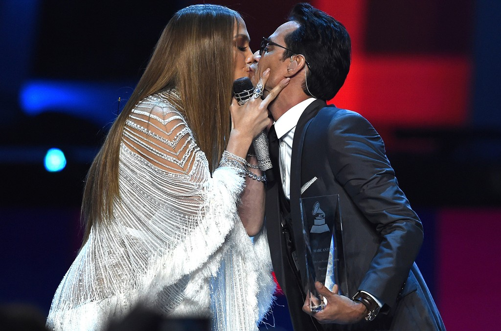 Jennifer Lopez and Marc Anthony kiss onstage during The 17th Annual Latin Grammy Awards at T-Mobile Arena on Nov. 17, 2016 in Las Vegas.