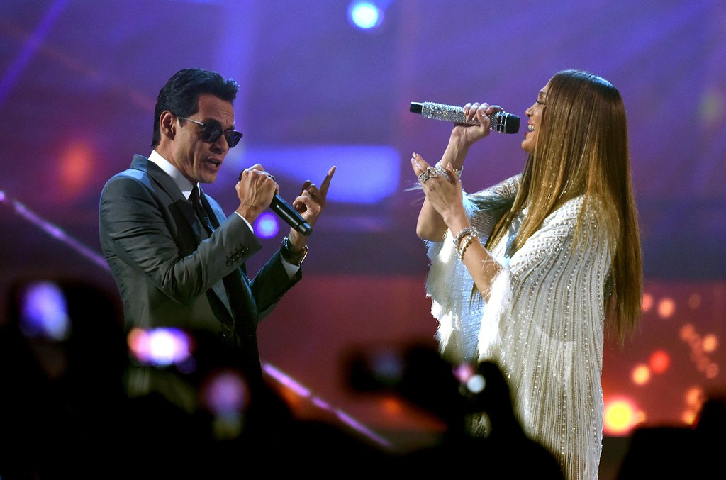 Marc Anthony and Jennifer Lopez perform onstage during The 17th Annual Latin Grammy Awards at T-Mobile Arena on Nov. 17, 2016 in Las Vegas.