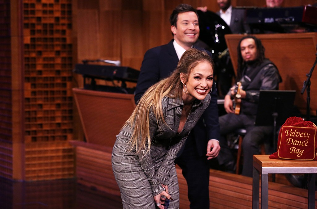 Jennifer Lopez and host Jimmy Fallon during a Dance Battle on The Tonight Show on March 1, 2017.