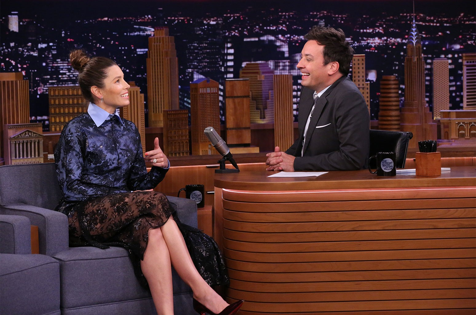 Jessica Biel during an interview with host Jimmy Fallon on The Tonight Show Starring Jimmy Fallon on Oct. 22, 2019.