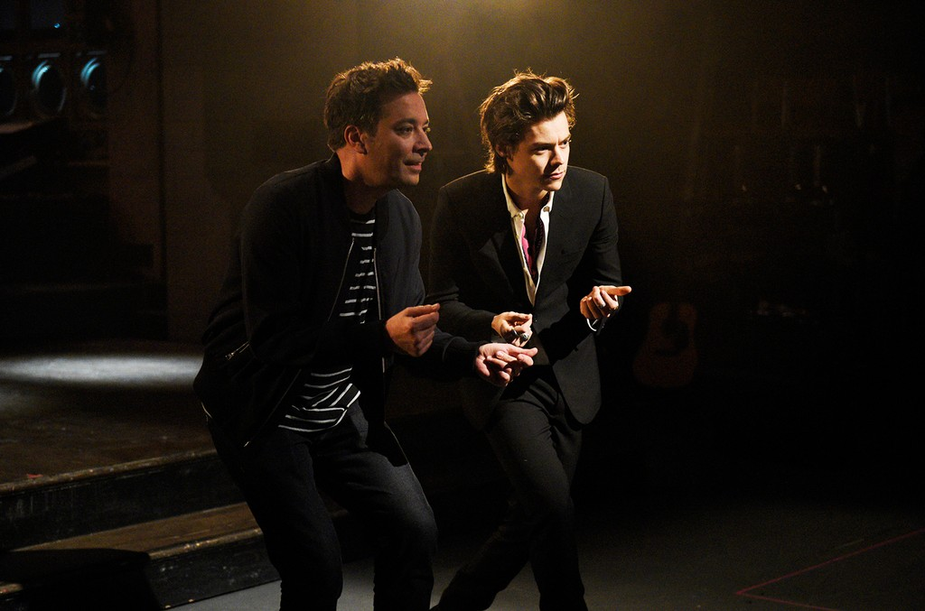 Jimmy Fallon, and musical guest Harry Styles pose in Studio 8H for Saturday Night Live on April 11, 2017.