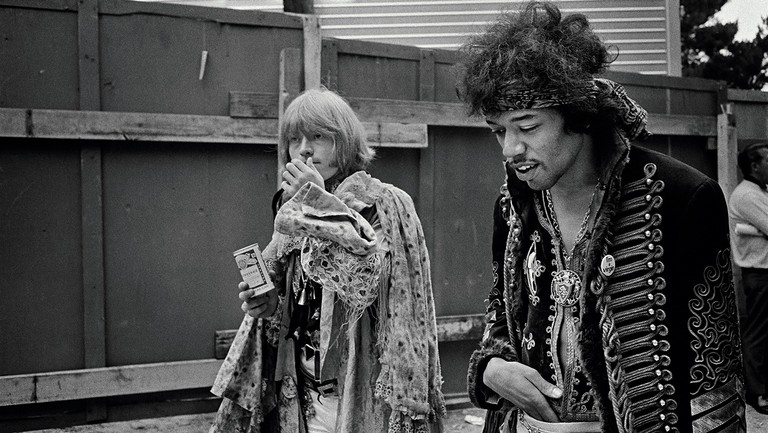 <p>The Rolling Stones guitarist Brian Jones (left) and Hendrix backstage at the Monterey International Pop Festival.</p>