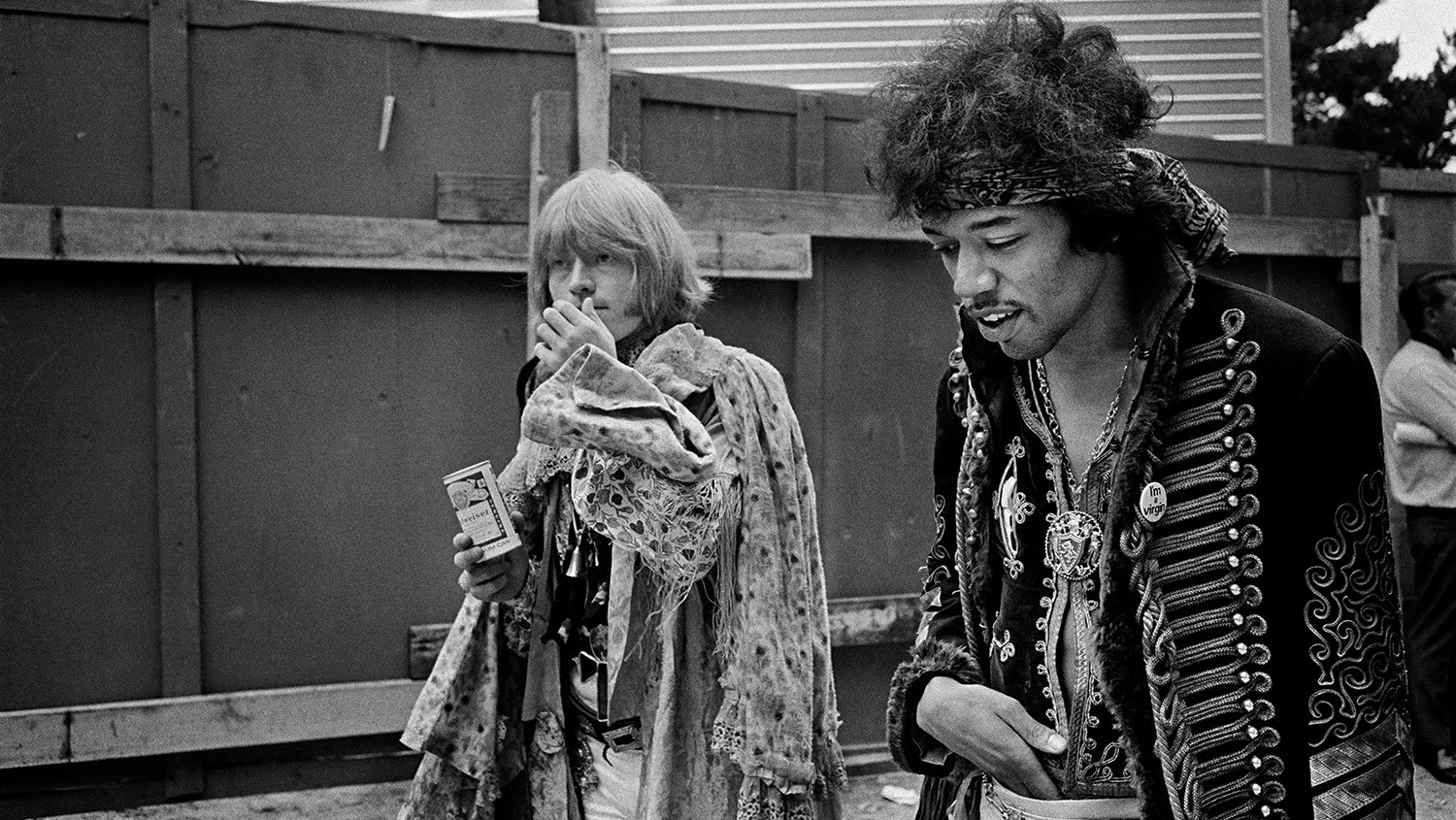 The Rolling Stones guitarist Brian Jones (left) and Hendrix backstage at the Monterey International Pop Festival.