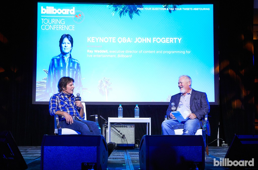 John Fogerty on stage at the Billboard Touring Conference & Awards on Nov. 10, 2016 with Billboard's Ray Waddell in Beverly Hills, Calif.