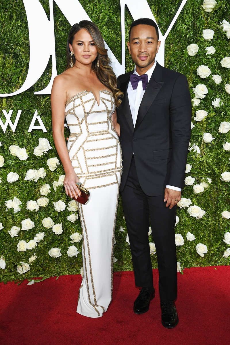 Chrissy Teigen and John Legend attend the 2017 Tony Awards at Radio City Music Hall on June 11, 2017 in New York City.
