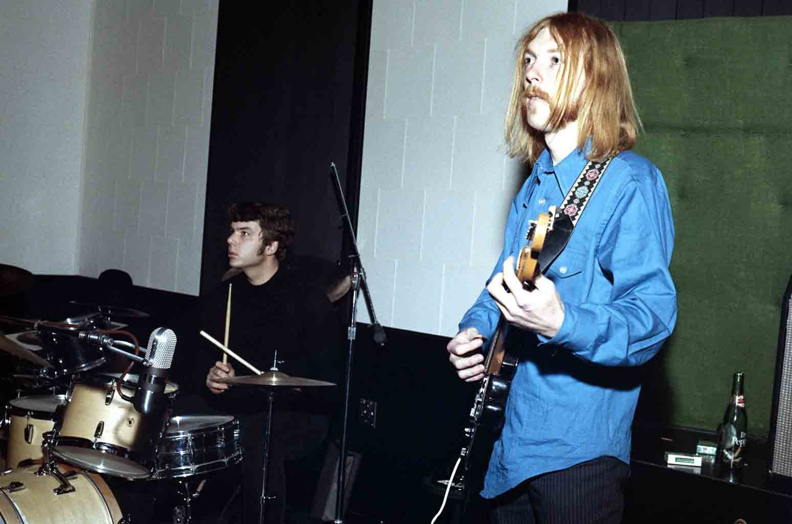 Session guitarist Duane Allman (right) and session drummer Johnny Sandlin rehearse at FAME Studios in 1968 in Muscle Shoals, Alabama.