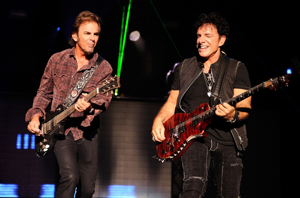 Jonathan Cain and Neal Schon of Journey perform at Nikon at Jones Beach Theater