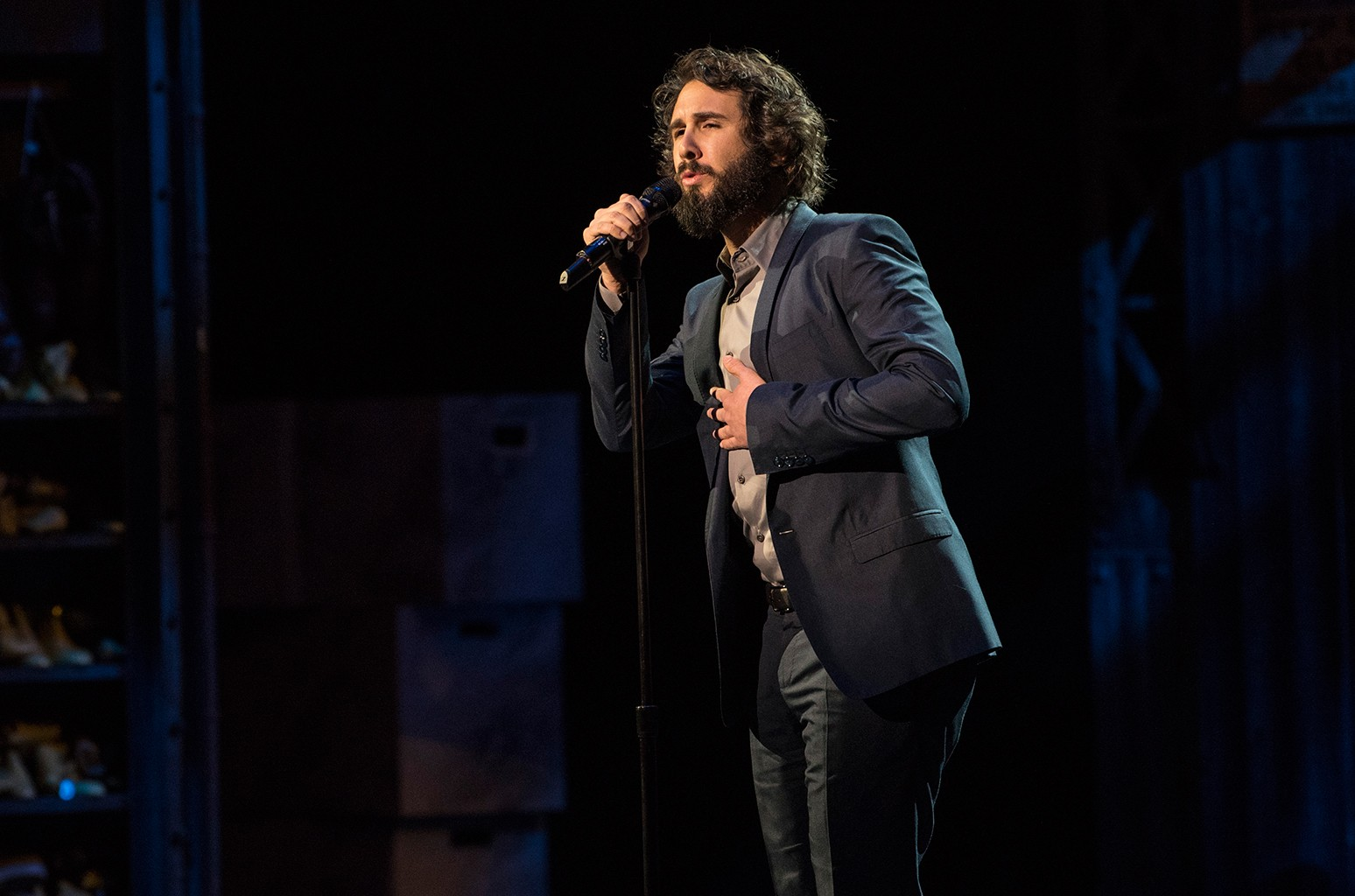Josh Groban performs at Broadway Backwards at the Al Hirschfeld Theatre on March 13, 2017 in New York City.