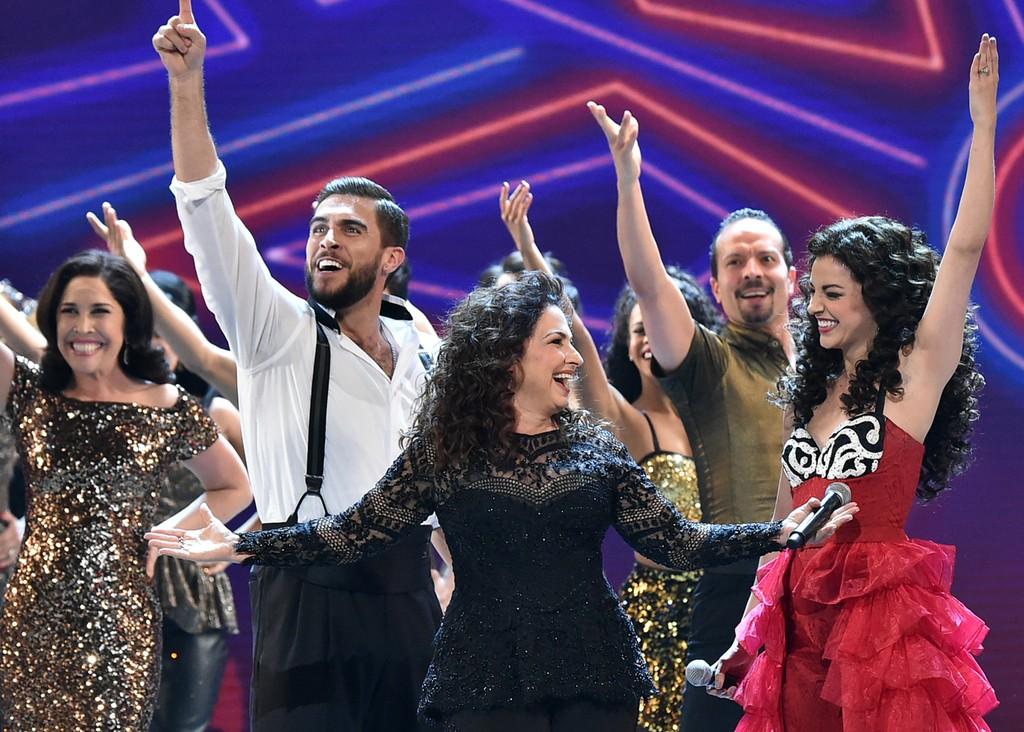 Josh Segarra, Gloria Estefan & Ana Villafane at the Tony Awards