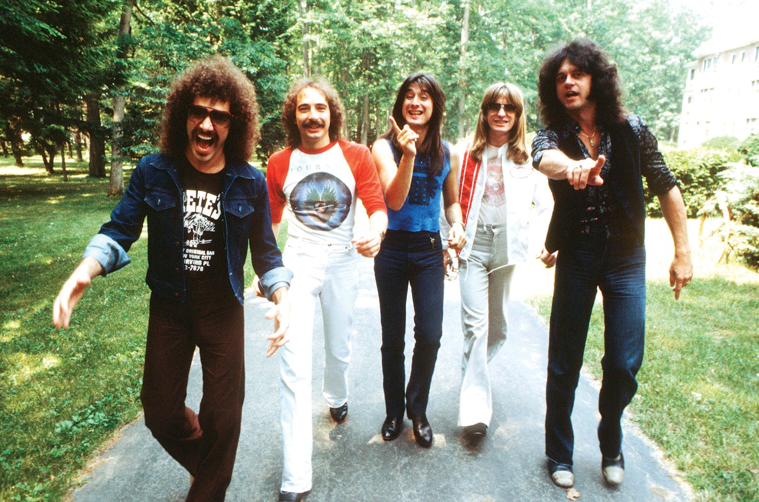 (L-R) Neal Schon, Steve Smith, Steve Perry, Ross Valory and Gregg Rolie of Journey photographed in New York in 1979.
