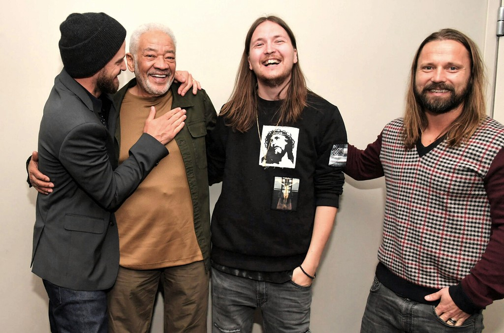 Justin Timberlake, Bill Withers, Shellback and Max Martin at a screening and panel discussion for the film Trolls presented by the Songwriters Hall of Fame at 20th Centrury Fox Studios on Feb. 17, 2017.