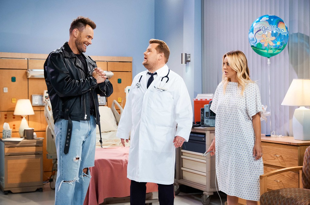 Kaley Cuoco and Joel McHale perform in The Bold and The Lyrical with James Corden during The Late Late Show with James Corden on Sept. 19, 2018.