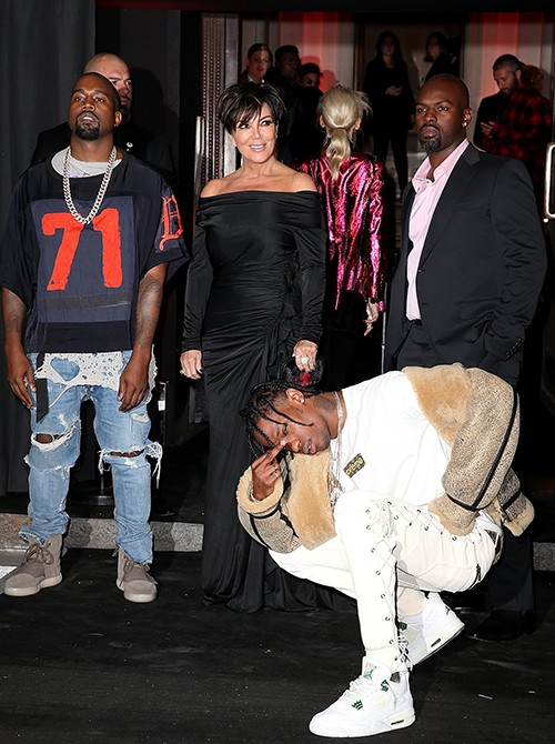 Kanye West, Kris Jenner, Travis Scott and Corey Gamble arrive at Vogue 95th Anniversary Party