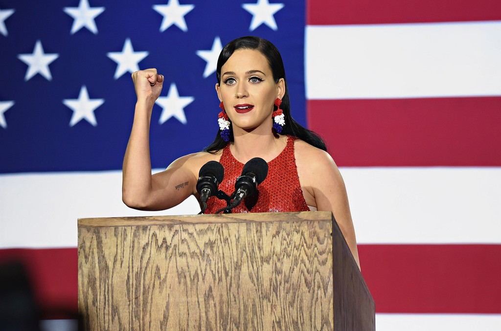 Katy Perry speaks at Democratic presidential nominee Hillary Clinton's election night party at Javits Center on Nov. 8, 2016 in New York City.