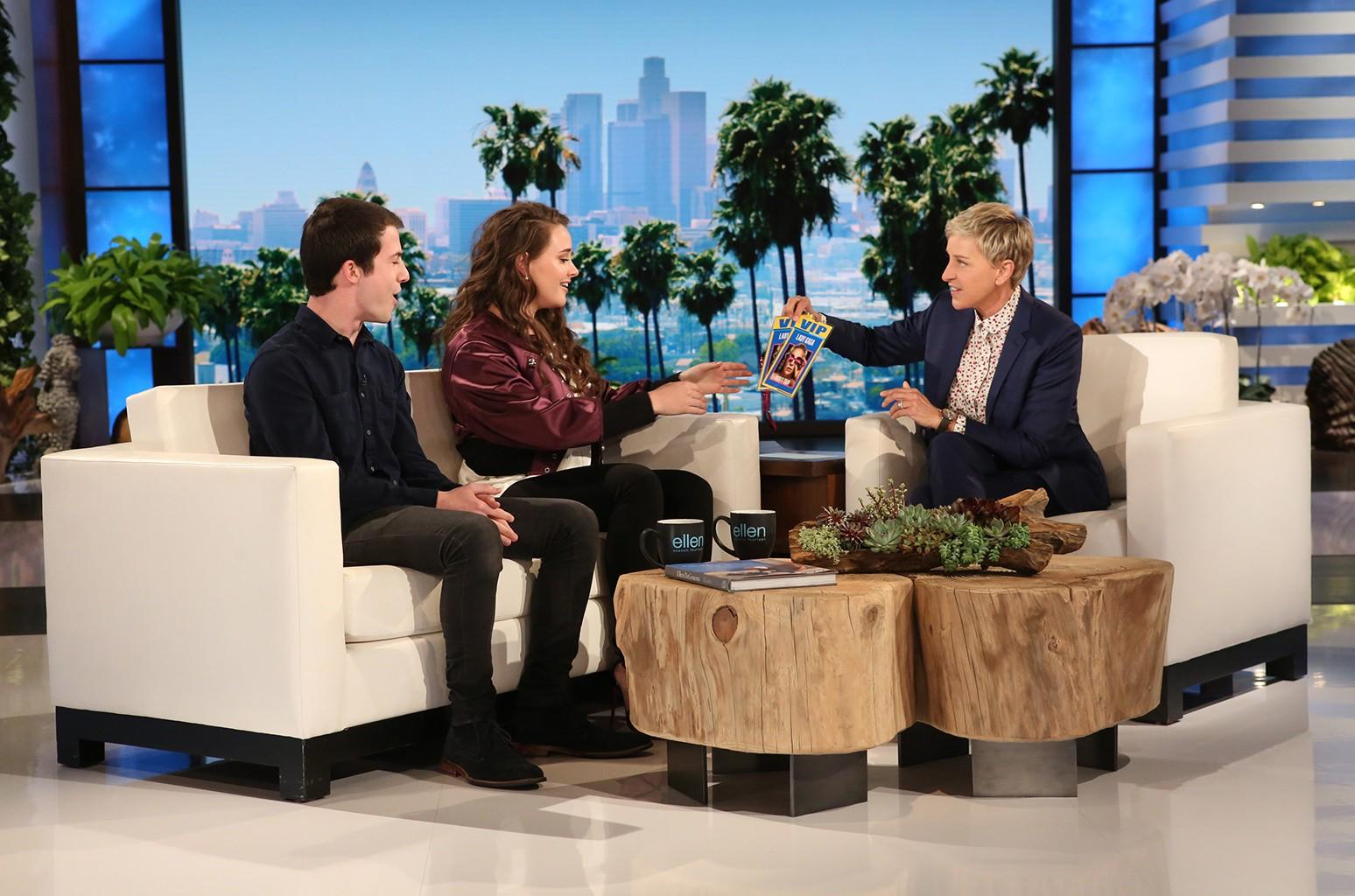 Katherine Langford and Dylan Minnette on The Ellen DeGeneres Show.