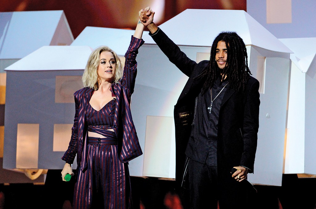 Katy Perry and Skip Marley perform at the Brit Awards at the O2 Arena in London on Feb. 22, 2017.