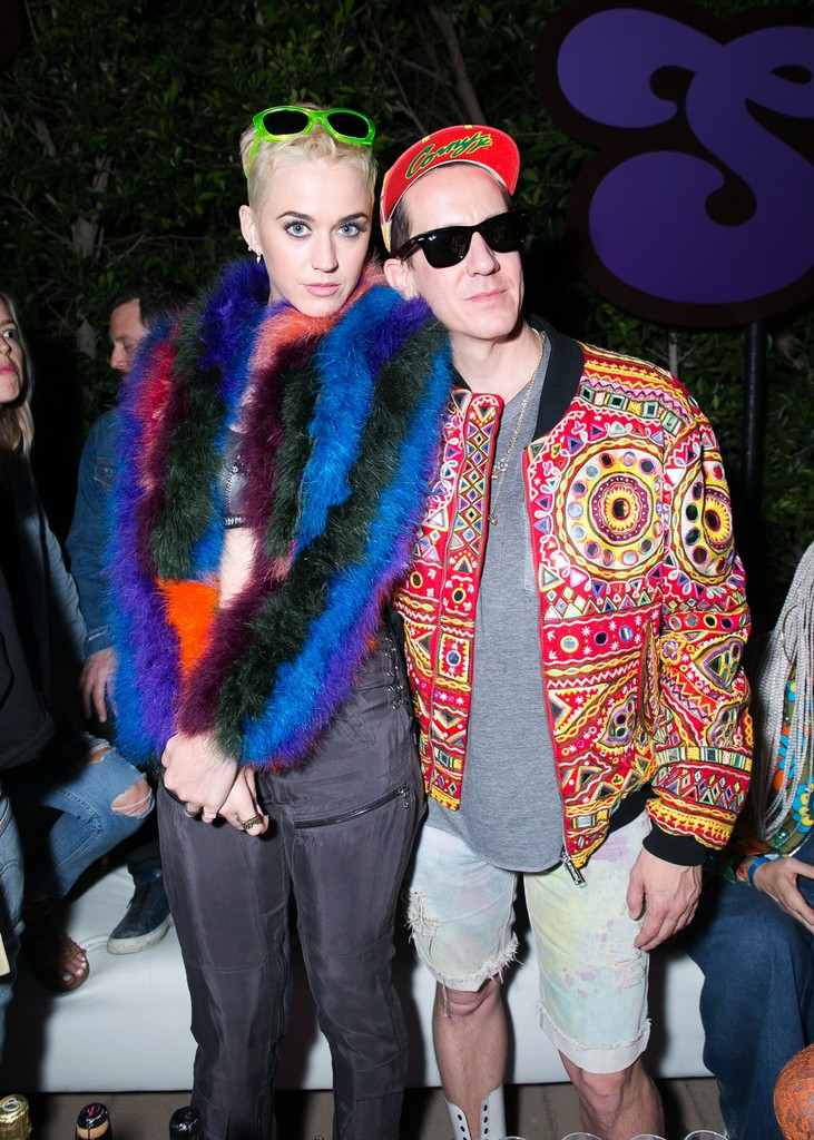 Katy Perry and Jeremy Scott during the Moschino Candy Crush Desert Party at Corona Yacht Club during Coachella on April 15, 2017.