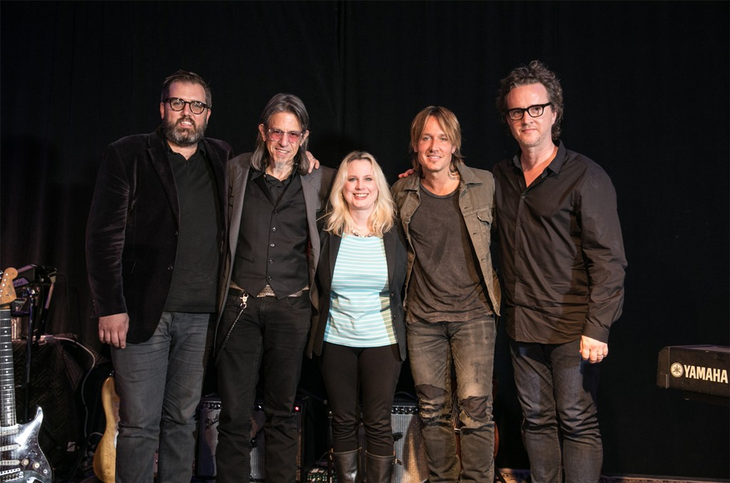 Busbee, Scott Goldman, Cindy Mabe, Keith Urban and Greg Wells photographed on Sept. 22, 2016 at East West Studio One in Hollywood, Calif.