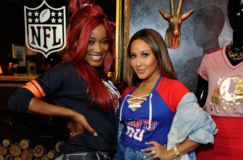 Keke Palmer & Adrienne Bailon photographed on Sept. 22, 2016 at a karaoke event celebrating the 2016 NFL Women's Apparel Collection.