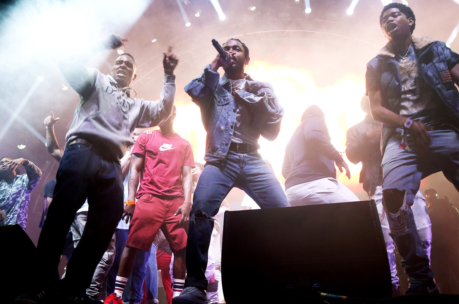 Kendrick Lamar (center) performs onstage at night three of the STAPLES Center Concert, sponsored by Sprite, during the 2017 BET Experience at Staples Center on June 24, 2017 in Los Angeles.