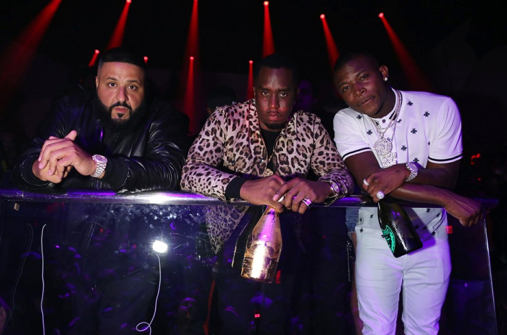 DJ Khaled, Diddy and OT Genasis photographed on Dec. 9, 2017 while celebrating DJ Khaled's 42nd birthday at LIV in Miami.