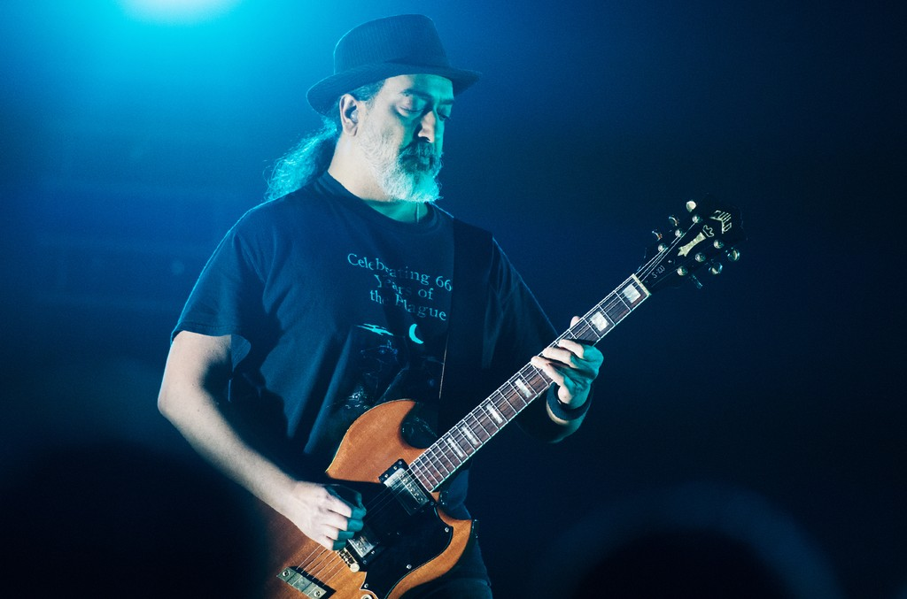 Kim Thayil of Soundgarden performs on stage at Fox Theater on May 3, 2017 in Atlanta.