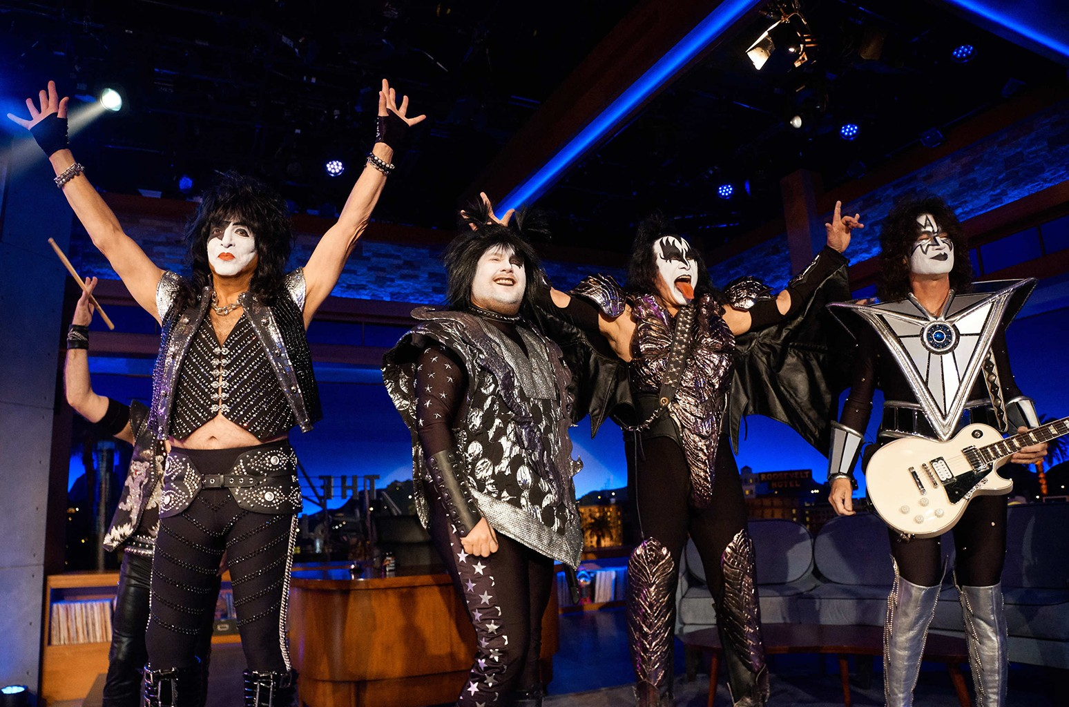 Kiss performs with James Corden