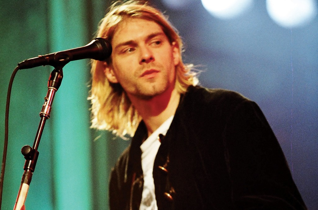 Cobain in 1993. Nirvana would be inducted into the Rock and Roll Hall of Fame 21 years later.