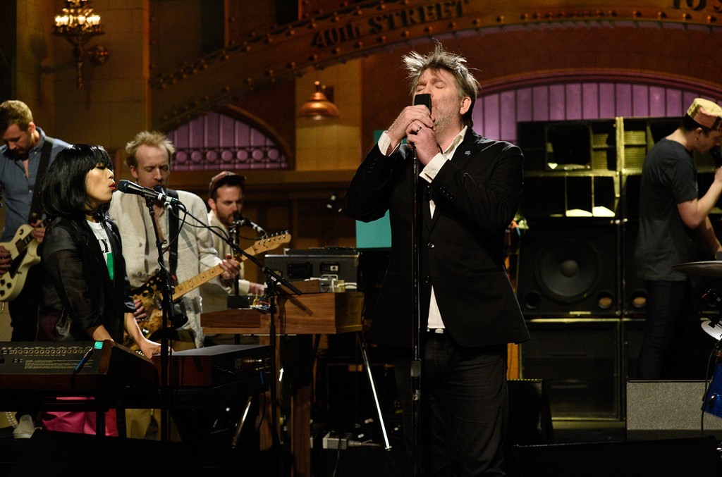 """Nancy Whang and James Murphy from Musical Guest LCD Soundsystem performing """"Call the Police"""" in studio 8H on 'Saturday Night Live' on May 6, 2017."""