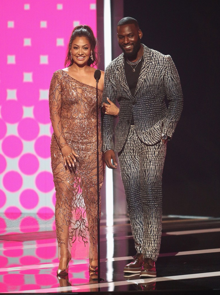 La La Anthony and Kofi Siriboe speak onstage at 2017 BET Awards at Microsoft Theater on June 25, 2017 in Los Angeles.