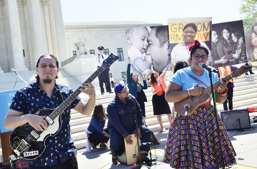 La Santa Cecilia perform during the Fight For Families Rally in front of the Supreme Court of the United States on April 18, 2016 in Washington, DC.