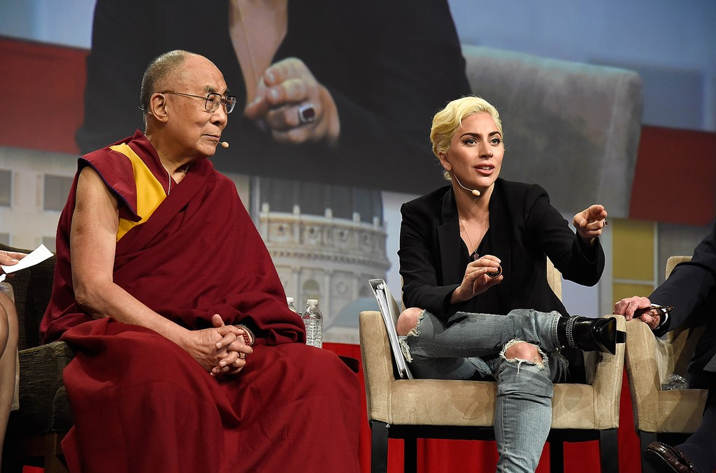Lady Gaga joins his Holiness the Dalai Lama to speak to US Mayors about kindness at JW Marriott on June 26, 2016 in Indianapolis, Indiana.