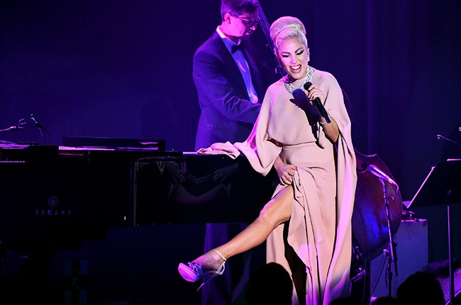 Lady Gaga performs onstage during amfAR's Inspiration Gala Los Angeles