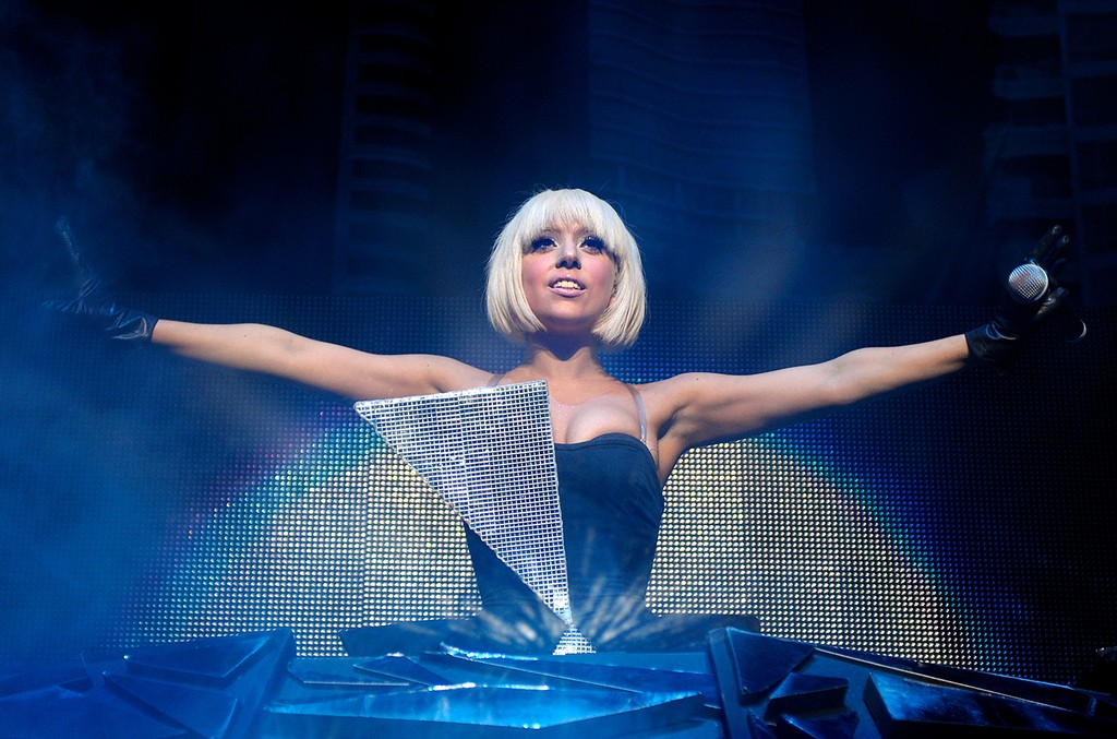 Lady Gaga performs on stage at the Rod Laver Arena on May 26th 2009 in Melbourne, Australia.