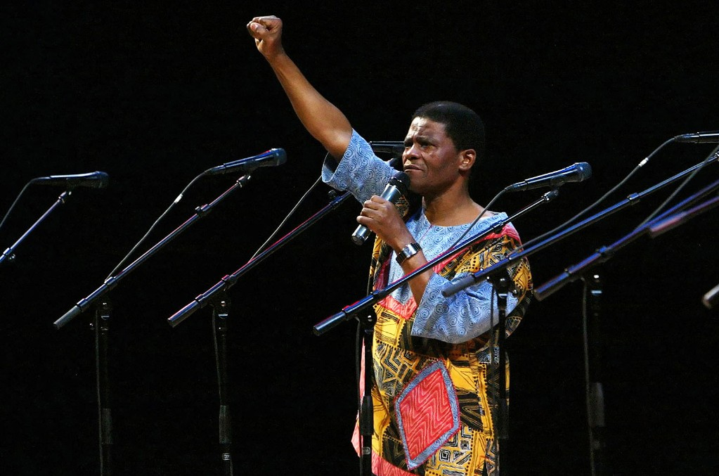 Ladysmith Black Mambazo founding member Joseph Shabalala gestures to the audience during the group's performance at the Kimmel Center in Philadelphia.
