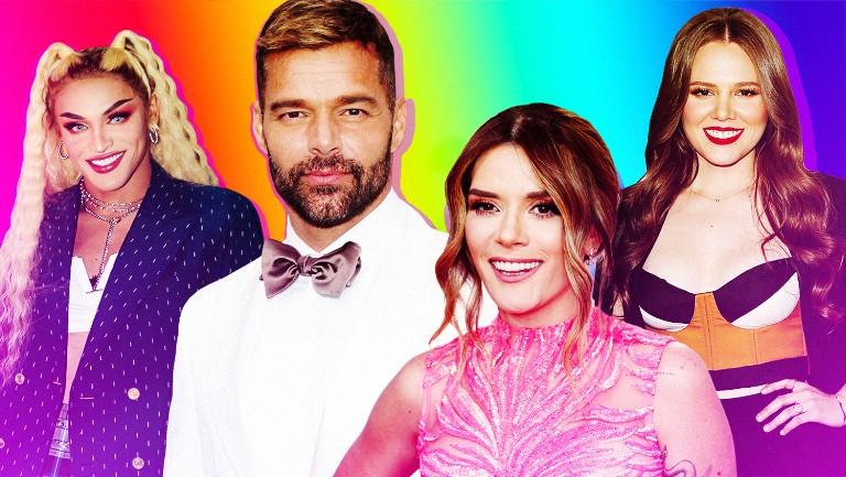 <p>Pabllo Vittar, Ricky Martin, Kany García and Joy Huerta of Jesse y Joy</p>