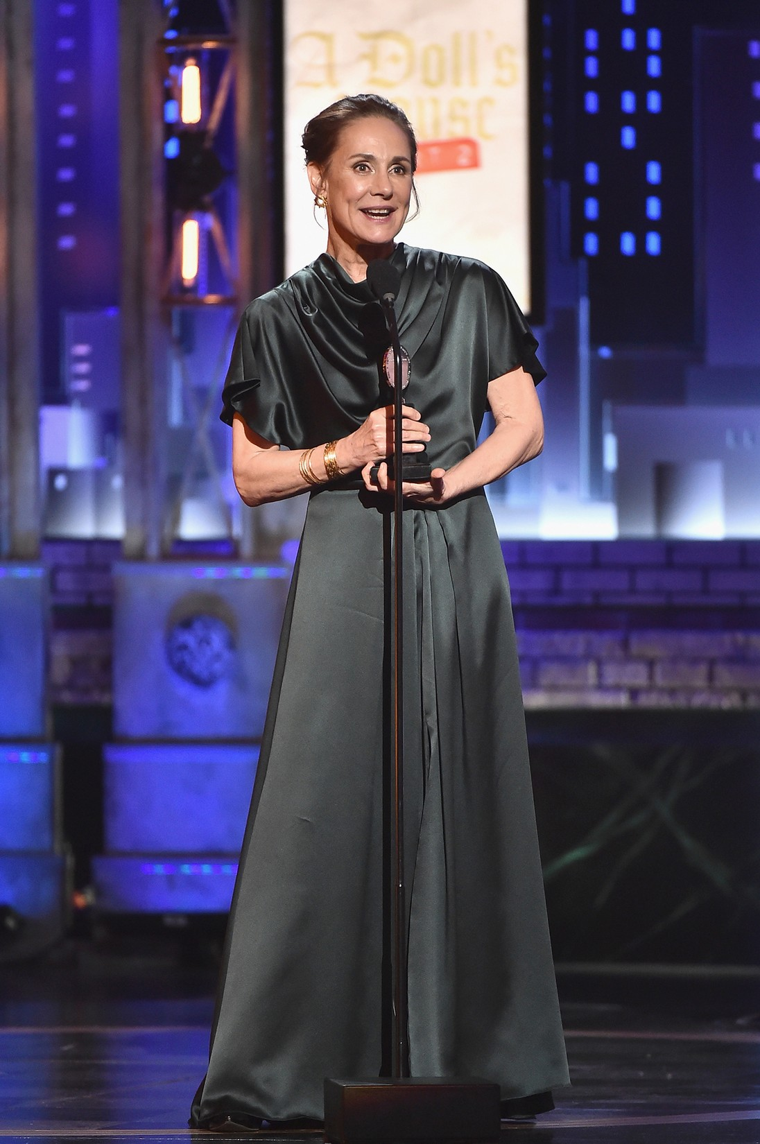 Laurie Metcalf accepts the award for Best Performance by an Actress in a Leading Role in a Play for ?A Doll's House, Part 2? onstage during the 2017 Tony Awards at Radio City Music Hall on June 11, 2017 in New York City.