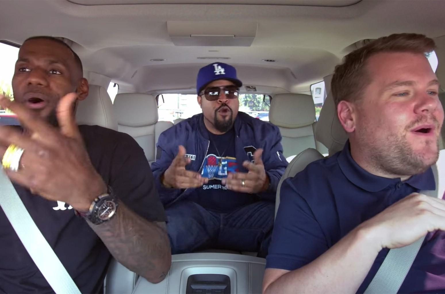LeBron James, James Corden and Ice Cube on Carpool Karaoke.