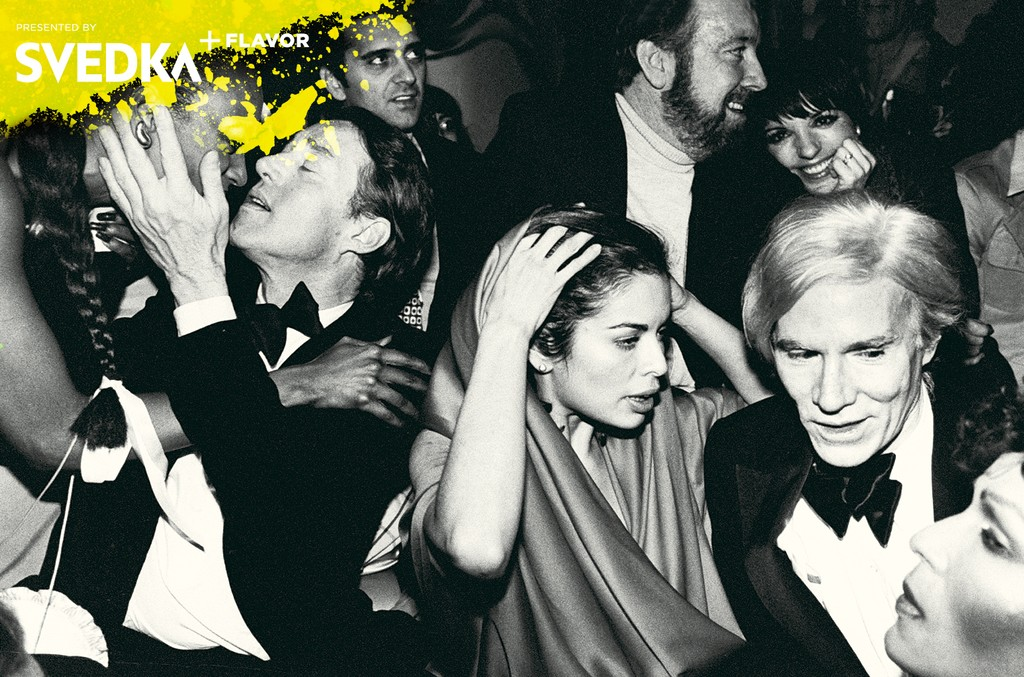 Celebrities during New Year's Eve party at Studio 54: (L-R) Halston, Bianca Jagger, Jack Haley Jr., Liza Minnelli, and Andy Warhol.