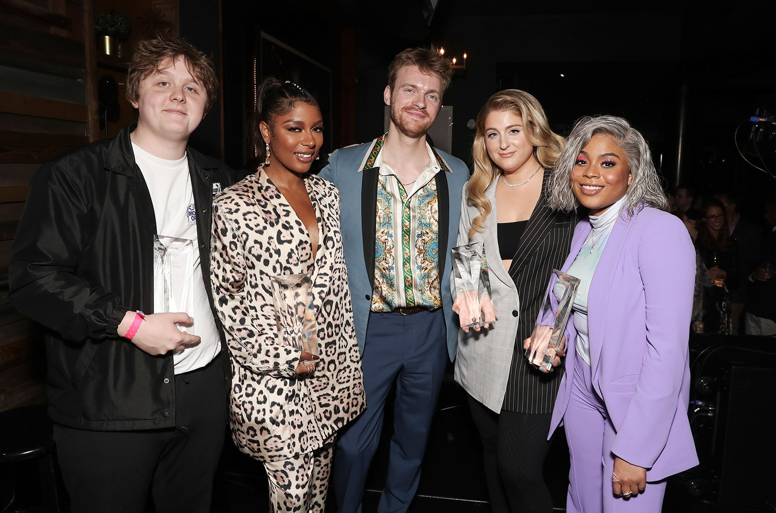 Lewis Capaldi, Victoria Monet, Finneas O'Connell, Meghan Trainor and Tayla Parx attend the NMPA + Billboard Grammy Week Songwriter Showcase.