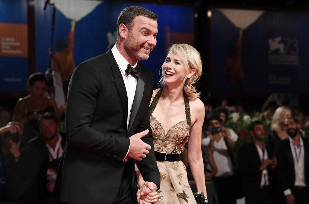 """Liev Schreiber and Naomi Watts pose on the red carpet before the premiere of the movie """"The Bleeder"""" presented in competition at the 73rd Venice Film Festival on Sept. 2, 2016 at Venice Lido."""