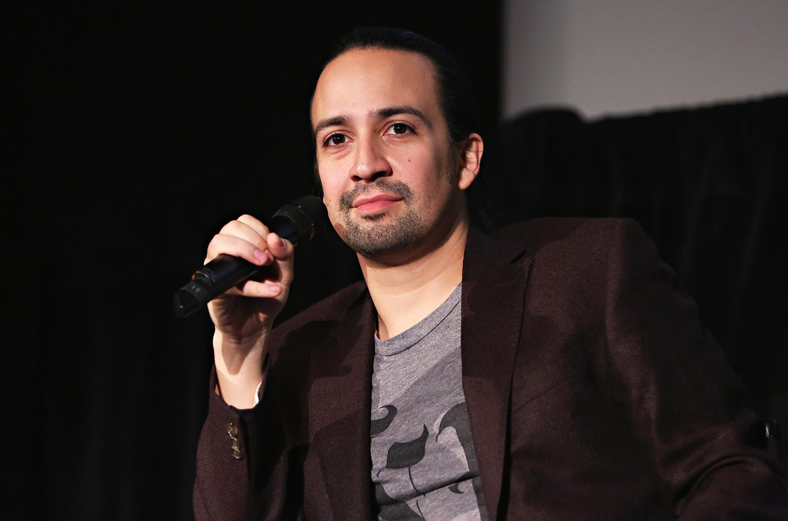 NEW YORK, NY - OCTOBER 04:  Actor Lin-Manuel Miranda speaks onstage during The New Yorker Festival 2015 - Lin-Manuel Miranda Talks With Rebecca Mead at DGA Theater on October 4, 2015 in New York City.  (Photo by Cindy Ord/Getty Images for The New Yorker)