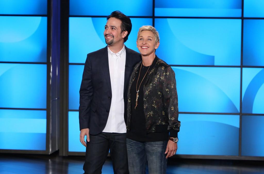 Lin-Manuel Miranda raps on The Ellen DeGeneres Show on Nov. 11, 2016.    Michael Rozman / Warner Bros.