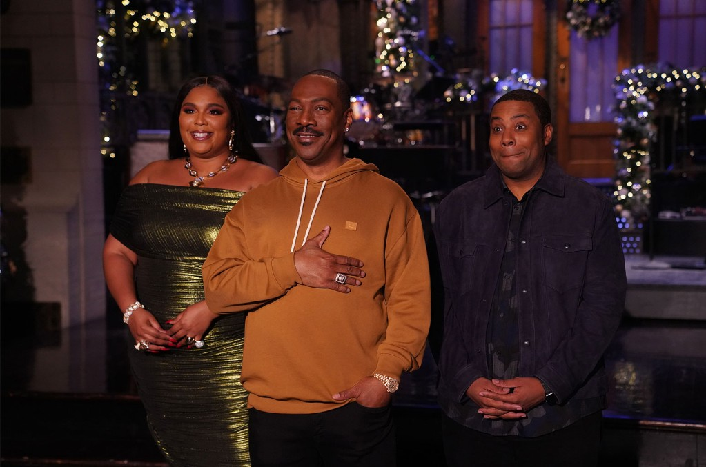 Lizzo, Eddie Murphy and Kenan Thompson during Promos for Saturday Night Live in Studio 8H on Dec. 19, 2019.
