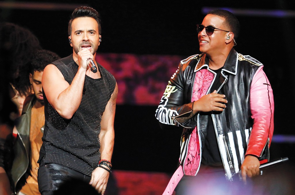 Fonsi (left) and Daddy Yankee onstage in April.