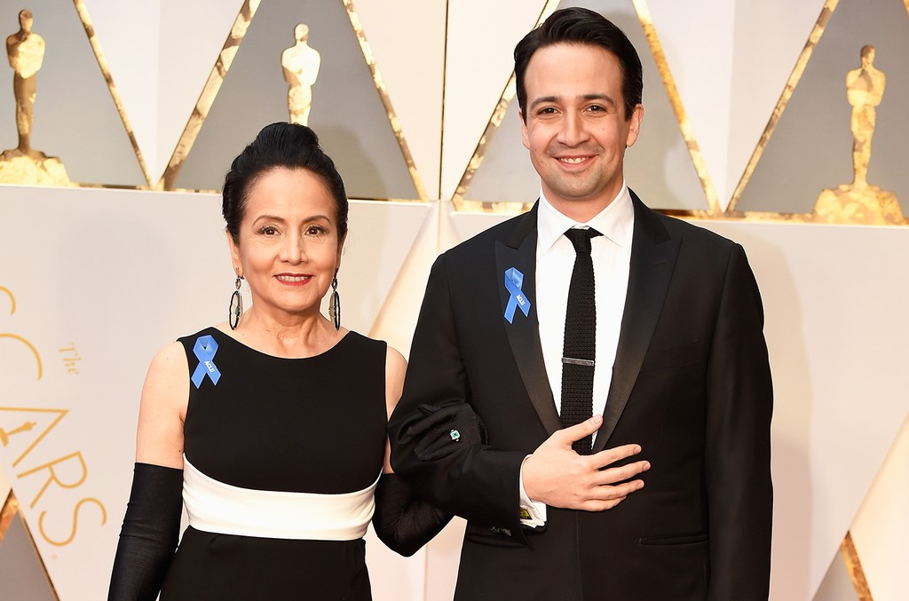 Lin-Manuel Miranda and Luz Towns-Miranda attend the 89th Annual Academy Awards at Hollywood & Highland Center on Feb. 26, 2017 in Hollywood, Calif.