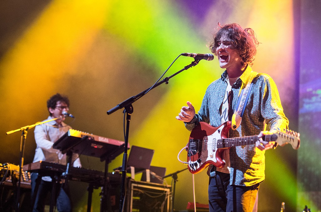 Andrew VanWyngarden from MGMT performs at l' Olympia on Oct. 8, 2013 in Paris, France.
